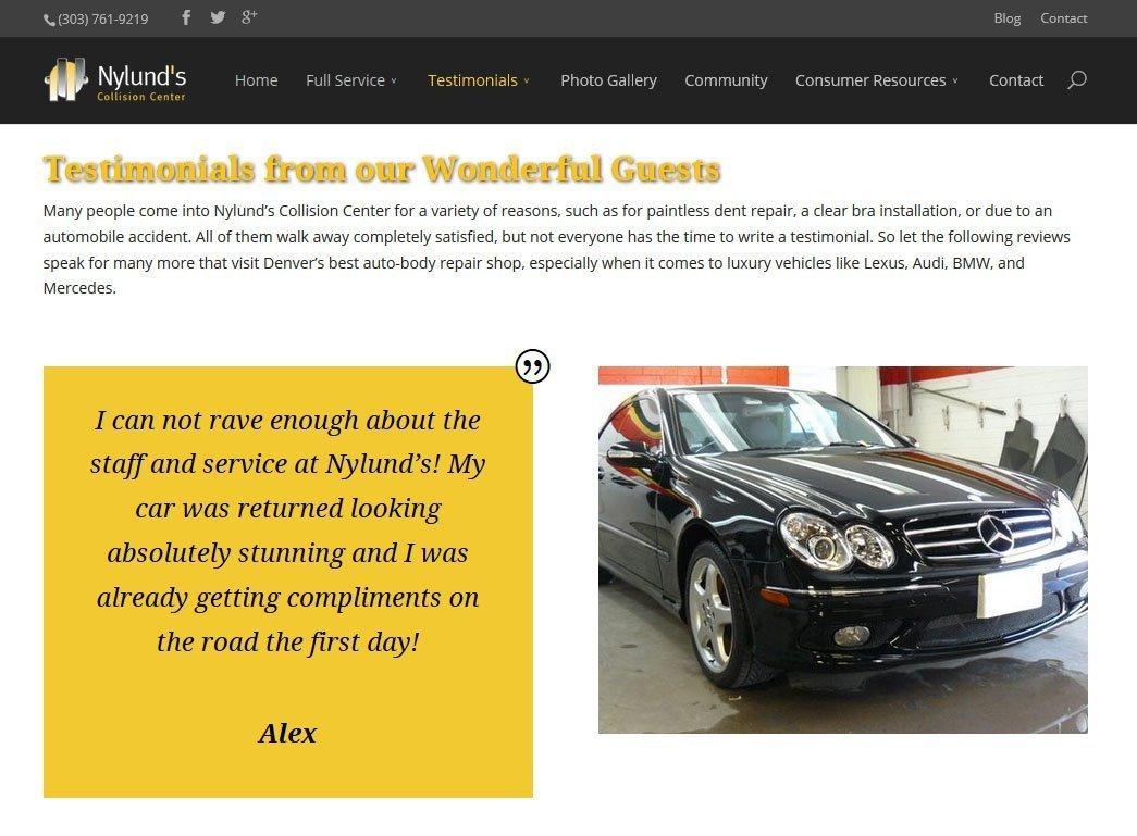 Nylund's Collision Center Website