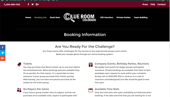 The Clue Room Website