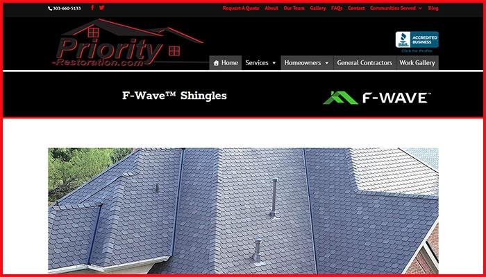 Priority Restoration's Website