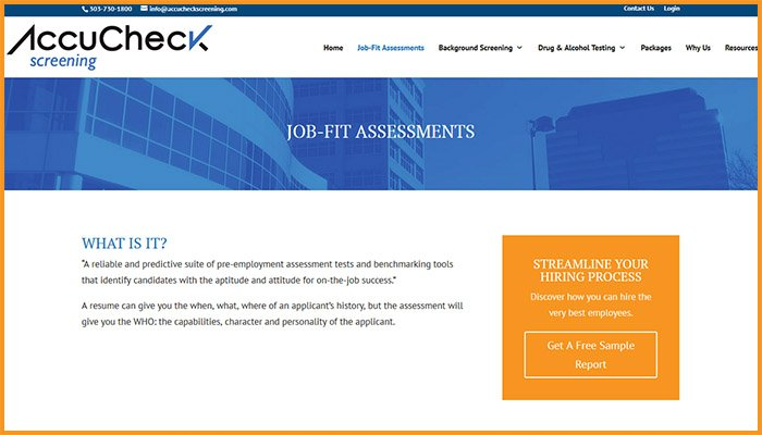 AccuCheck Screening Website