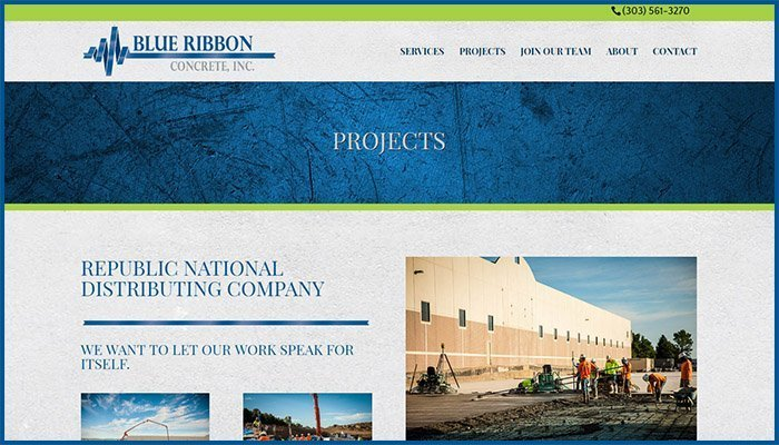Blue Ribbon Concrete Website