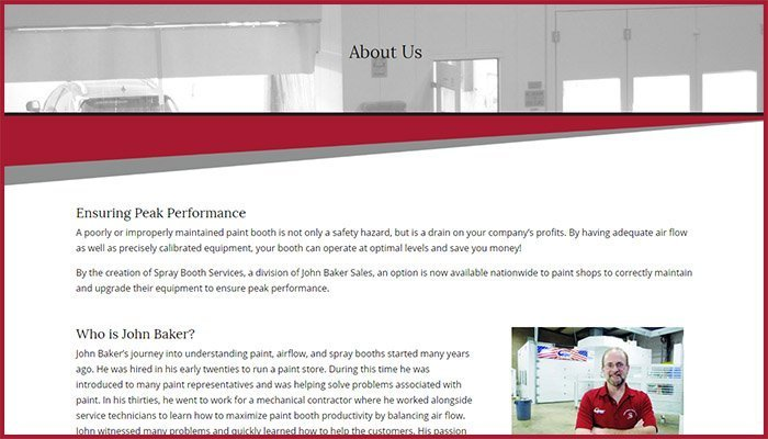 Spray Booth Services Website
