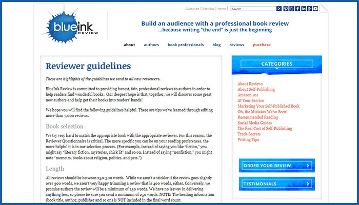 BlueInk Review Website