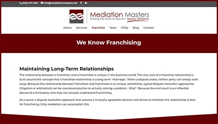 Mediation Masters Knows Franchising