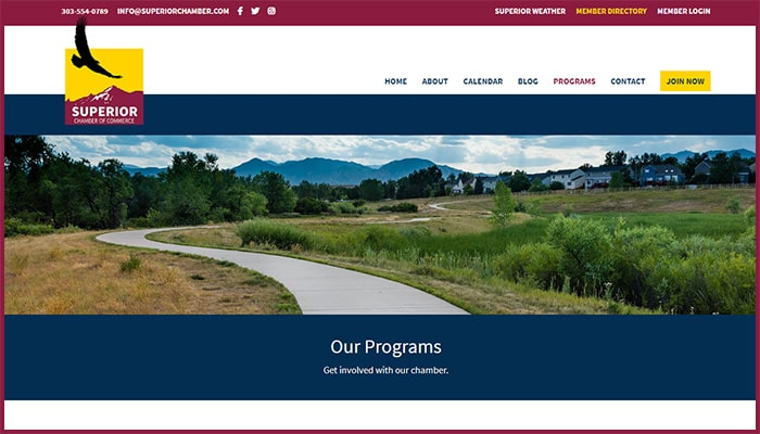 Superior Chamber of Commerce's Website